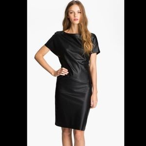 BCBGMaxAzria Sheer Back Yoke Faux Leather Dress XS
